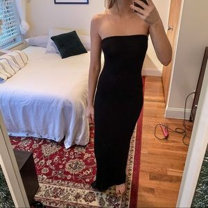 Missguided black open back jersey maxi dress